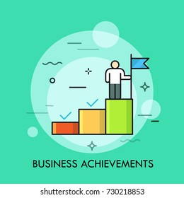 Person standing on the upper step of stairs and holding flag. Concept of business goal achievement, successful project accomplishment, attainment. Vector illustration for web banner, poster, website.