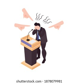 Person suffering from panic attack during public speech 3d isometric vector illustration