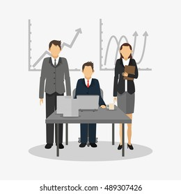 person in suit with business related icons image
