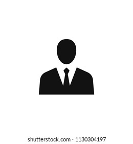 Person in suit icon, Simple businessman torso and head silhouette, vector illustration