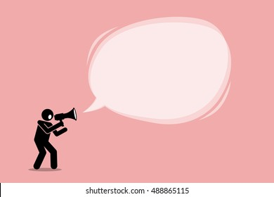 Person talking and shouting using a megaphone to promote, call, and tell an important announcement in a big promotional bubble speech message. Vector depict marketing, promotion, and advertisement.