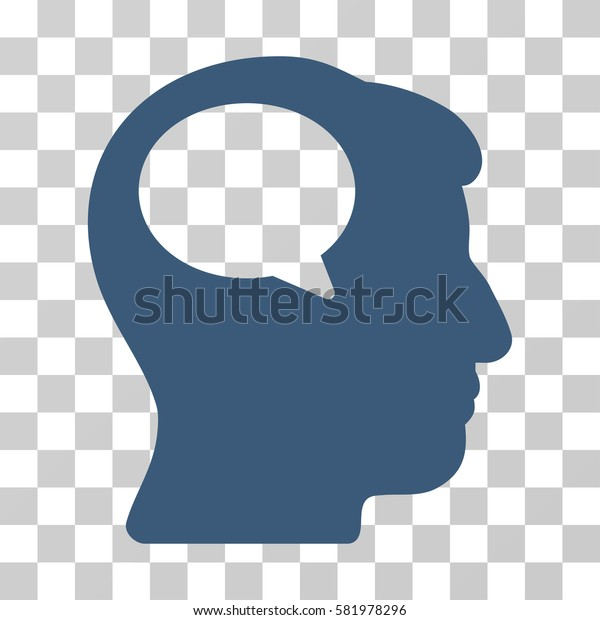 Person Thinking vector pictograph. Illustration style is a flat iconic blue symbol on a transparent background.