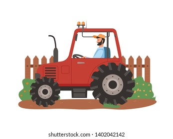 Person in tractor vector, agriculture and husbandry seasonal works. Man sitting in agricultural machinery, fence and bushes of rural area isolated