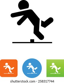 Person tripping over an obstacle icon
