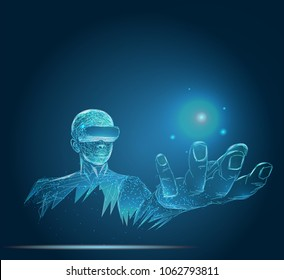 A person in virtual glasses. The man with glasses of virtual reality. Future technology concept. Modern imaging technology. Low poly vector illustration. 3D
