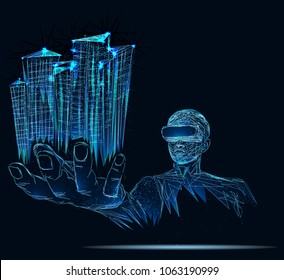 A person in virtual glasses. The man with glasses of virtual reality. Future technology concept. Modern imaging technology. Low poly vector illustration. 3D. City, future, futuristic concept, metropol