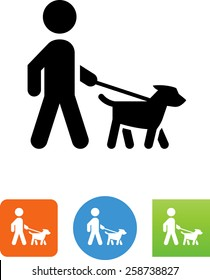 Person walking a dog on a leash icon
