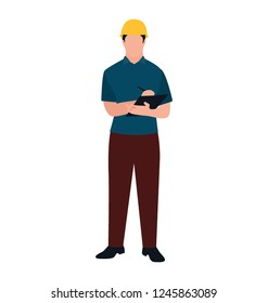 Person wearing hard hat architect flat icon design
