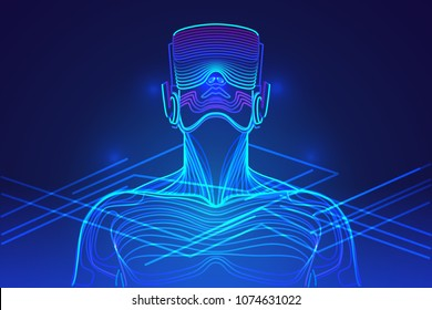 Person wearing virtual reality glasses. Abstract vr world with neon lines. Vector illustration