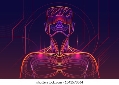 Person wearing virtual reality glasses. Abstract vr world with glowing lines