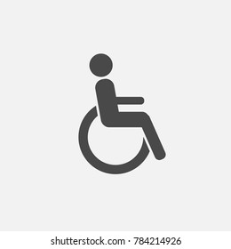 person in wheelchair vector icon for signs on websites and blogs gray