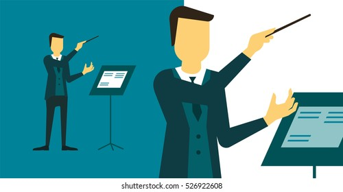 Person who directs the performance of orchestra or choir. Bandleader