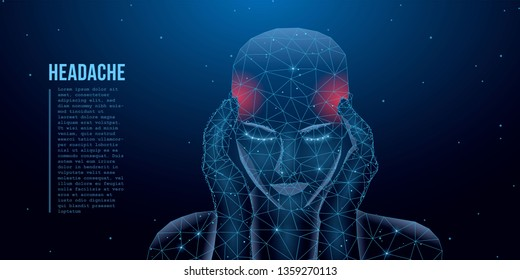 A person who has a headache, migraine, pain, pressing his hands to his head. Health and pain. A tired man with a severe headache suffers from a migraine. Low poly concept. Vector
