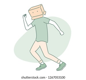 A person who put a box on his head. hand drawn style vector design illustrations.