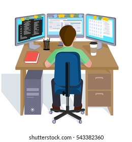 Person working at the computer. Flat style vector illustration.
