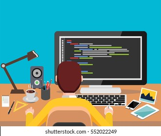 Person working on computer. Programming or coding concept. Modern flat design for Web Banner , Website Element , Brochures, or Book cover