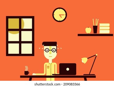 Person working very hard all day long
