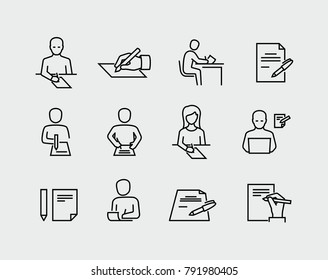 Person writing on paper vector icon