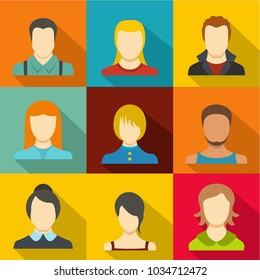 Persona icons set. flat set of 9 persona vector icons for web isolated on white background