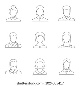Persona icons set. Outline set of 9 persona vector icons for web isolated on white background