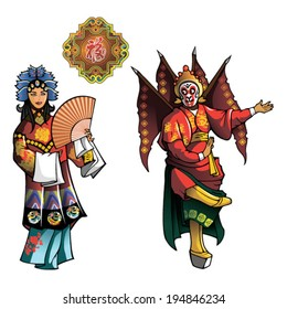 Personages of Beijing Opera, Wu Sheng (Sun Wukong or Monkey King) and Qing Yi (Zheng Dan) with the symbol of happiness, vector illustration