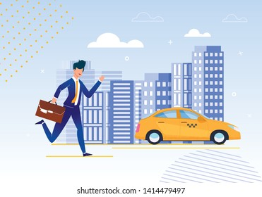 Personal Assistant in Organization Affairs Cartoon. Personal Assistant Organization Affairs. Habit Constantly Being Late Leads to Problems. Guy Iruns Through City after Leaving Taxi.