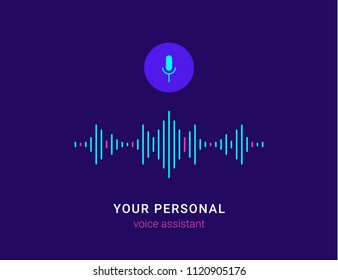 Personal assistant and voice recognition concept flat vector illustration of sound symbol intelligent technologies. Microphone button with bright voice and sound imitation lines