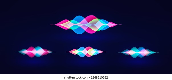 Personal assistant voice recognition concept. Artificial intelligence technologies. Sound wave logo concept for voice recognition application, website background. Home smart system assistant. Vector