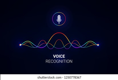 Personal assistant and voice recognition concept. Soundwave intelligent technologies. Microphone icon. Vector illustration. Voice assistant logo.Communication with phone.