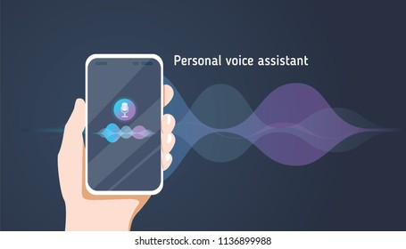 Personal assistant and voice recognition on mobile app. Concept flat vector illustration of human hand holds smartphone with microphone button on screen and voice and sound imitation lines
