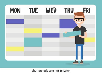 Personal assistant. Young character planning a schedule / flat editable vector illustration, clip art