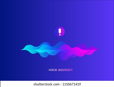 Personal assistant,voice intelligent technologies,recognition concept.Vector illustration of sound symbol intelligent technologies.Microphone button with voice and sound imitation line.blue wave sound