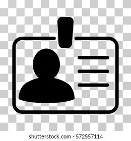 Personal Badge icon. Vector illustration style is flat iconic symbol, black color, transparent background. Designed for web and software interfaces.