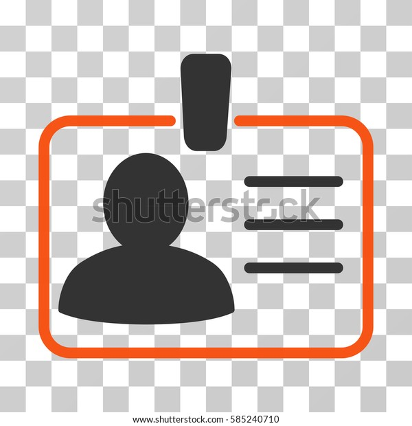 Personal Badge icon. Vector illustration style is flat iconic bicolor symbol, orange and gray colors, transparent background. Designed for web and software interfaces.