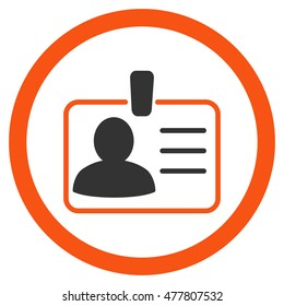 Personal Badge rounded icon. Vector illustration style is flat iconic bicolor symbol, orange and gray colors, white background.