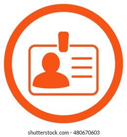 Personal Badge rounded icon. Vector illustration style is flat iconic symbol, orange color, white background.