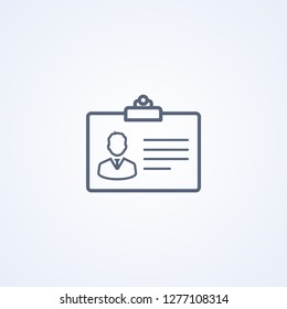 Personal badge, vector best gray line icon on white background , EPS 10