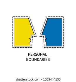 Personal boundaries icon. Two people face to face. Vector illustration