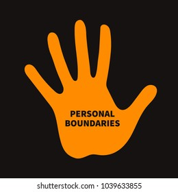 Personal boundary. Prohibiting palm, psychotherapy icon, vector illustration