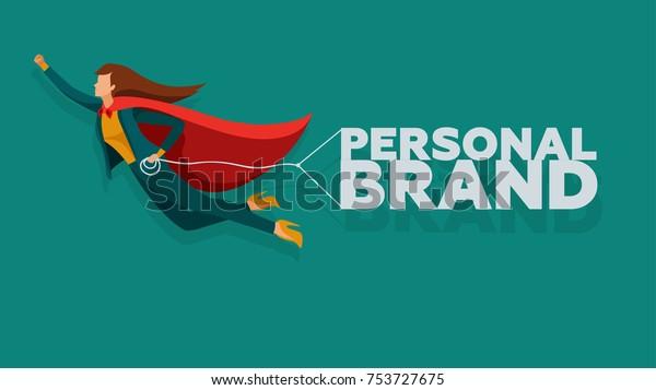 Ilustración vectorial de concepto de marca personal. Mujer de negocios en el súper héroe de capa crece en carrera.