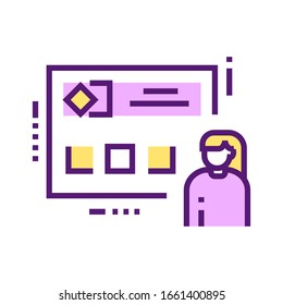 Personal branding color line icon. Self-promotion and advertising. Pictogram for web page, mobile app, promo. UI UX GUI design element. Editable stroke.