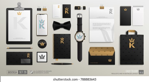 Personal Branding Identity Stationery Mockup set with Golden Crown logo. Luxury style Mockup set of Corporate Brand Identity Men's shop. Business mockup of gold crown logo on black background