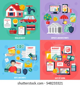 Personal budget concept icons set with deposits and investment symbols flat isolated vector illustration