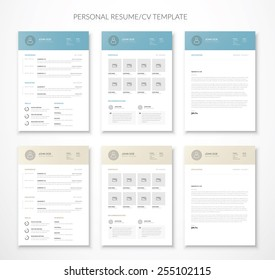 Personal business curriculum vitae and resume vector in two colors