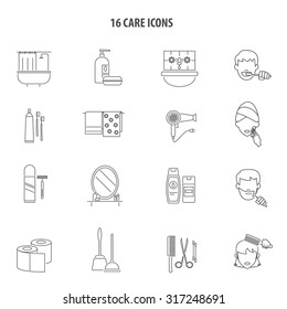 Personal care hygiene products for men and women bathroom accessories line icons set abstract vector isolated illustration