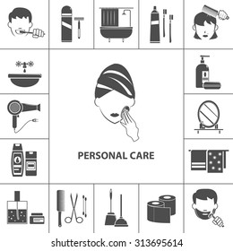 Personal care morning hygienic routine black pictograms collection with woman cleaning her skin poster abstract vector illustration