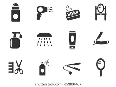 personal care web icons. set of simple symbols silhouettes