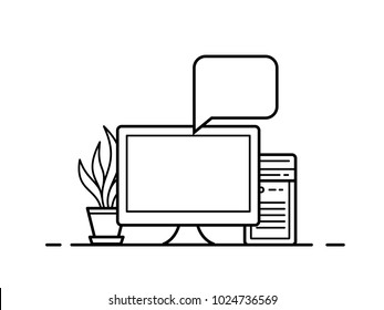 Personal computer icon. Clean and simple PC icon with two application windows. Vector illustration.