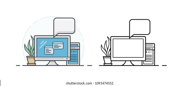 Personal computer linear icons. Clean and simple PC icon with two application windows. Vector illustration.