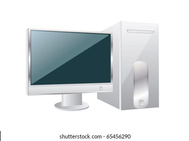 Personal computer on a isolated background,vector